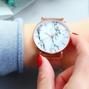 Accessories - Women's Rose Gold & Marble Quartz Watch